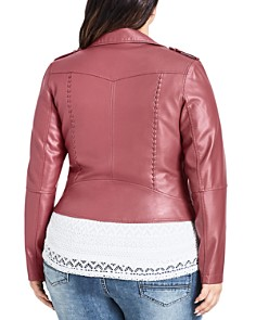 City Chic Plus - Whipstitched Faux-Leather Moto Jacket