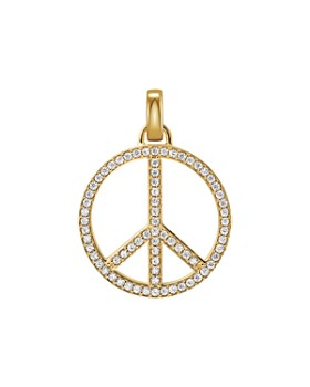 Michael Kors - Oversized Pavé Peace Charm in 14K Gold-Plated Sterling Silver
