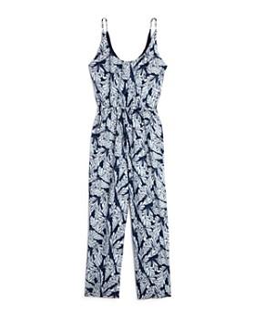 Miss Behave - Girls' Leaf Print Jumpsuit - Big Kid