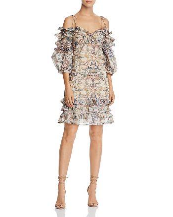 AQUA - Balloon-Sleeve Ruffled Floral Dress - 100% Exclusive