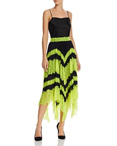 Alice and Olivia - Katz Lace-Trim Pleated Midi Skirt