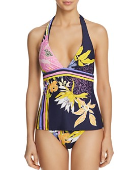 Trina Turk - Bal Harbour Floral Tankini Top & Bal Harbour Floral Shirred Side Hipster Bikini Bottom