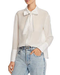 Alice and Olivia - Boyd Tie Detail Silk Blouse