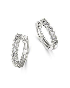 Bloomingdale's - Diamond Milgrain Huggie Hoop Earrings in 14K White Gold, 0.10 ct. t.w. - 100% Exclusive