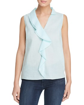 Elie Tahari - Adreena Sleeveless Ruffle-Trim Top