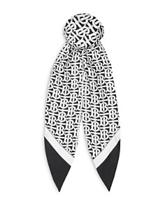 Burberry - Logo Print Silk Hair Scarf