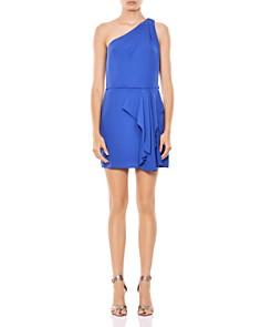 HALSTON HERITAGE - One-Shoulder Ruffled Dress