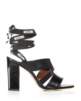 Moschino - Women's Logo Ankle-Wrap High-Heel Sandals