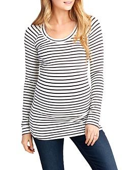 Nom Maternity - Phoebe Striped Long-Sleeve Maternity Tee