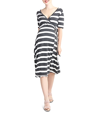 Nom Maternity Maya Striped During & After Wrap Dress