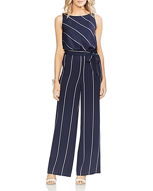 Vince Camuto Suits SLEEVELESS STRIPED WIDE-LEG JUMPSUIT