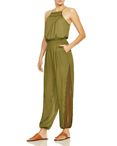 HALSTON HERITAGE - Square Neck Smocked Jumpsuit