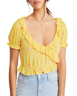 Free People - Full Bloom Embroidered Ruffle-Trim Top
