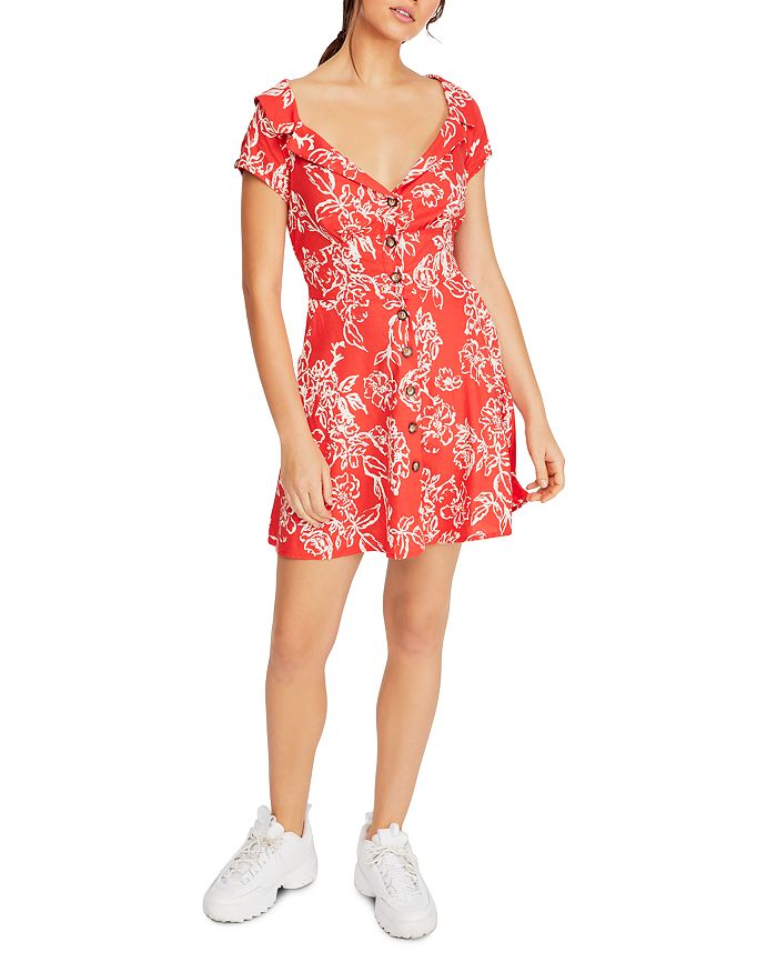 Free People - A Thing Called Love Floral-Print Mini Dress