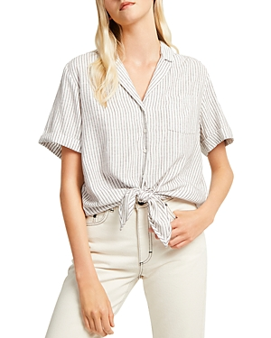 French Connection Laiche Striped Tie-Front Cotton Shirt