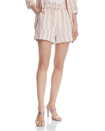 CHRISELLE LIM - Paperbag-Waist Striped Shorts