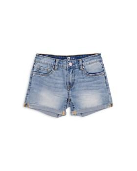 7 For All Mankind - Girls' Lightwash Denim Shorts - Little Kid, Big Kid