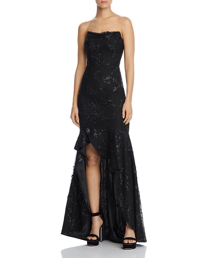 Bariano - Adrianna Strapless Glitter Gown