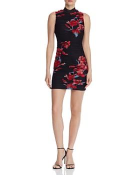 8d334b671c GUESS - Greta Ruched Floral Mesh Dress ...