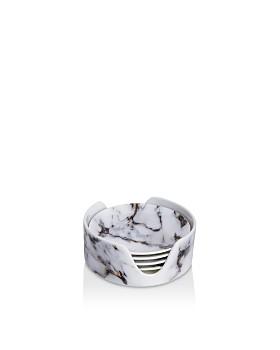 Prouna - Marble Venice Fog Coasters & Holder, Set of 4