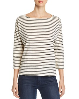 Eileen Fisher - Striped Boat-Neck Top