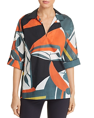 Lafayette 148 Tops NICOLE ABSTRACT-PRINT BLOUSE