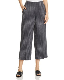 Eileen Fisher Petites - Striped Wide-Leg Cropped Pants