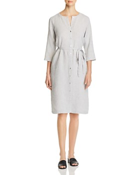 Eileen Fisher - Round-Neck Belted Shirt Dress