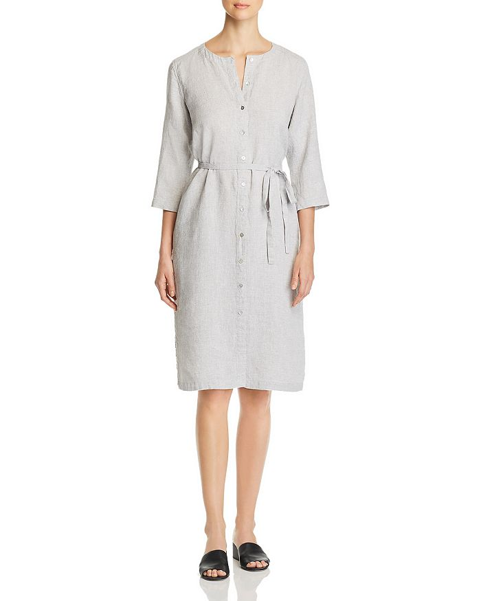 Eileen Fisher - Round-Neck Belted Shirt Dress