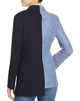 SJYP - Asymmetric Split Striped/Solid Blazer
