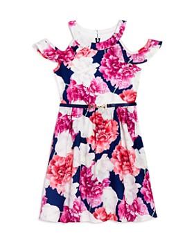 6fd30d960a US Angels - Girls' Floral Print Cold-Shoulder Dress - Little Kid ...