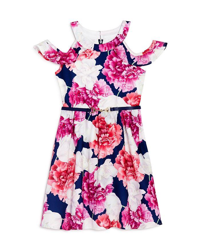 US Angels - Girls' Floral Print Cold-Shoulder Dress - Little Kid