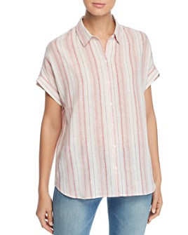 BeachLunchLounge - Striped Button-Front Top