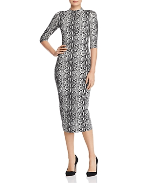 dd1dd2c4d Alice And Olivia Delora Snake-Print Mock-Neck Elbow-Sleeve Fitted Dress In