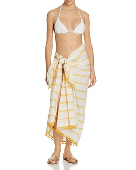 Red Carter - Striped Sarong Swim Cover-Up