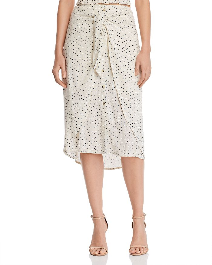AQUA - Tie-Front Polka Dot Midi Skirt - 100% Exclusive
