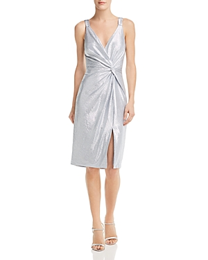 Eliza J Dresses METALLIC TWIST-FRONT DRESS