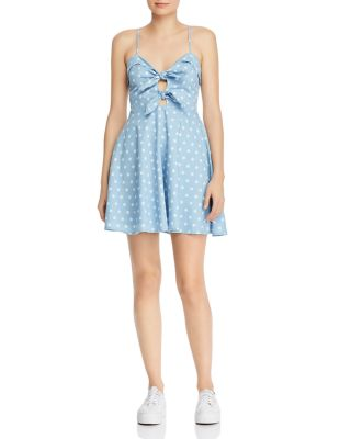 Tie Front Polka Dot Chambray Dress by Do And Be