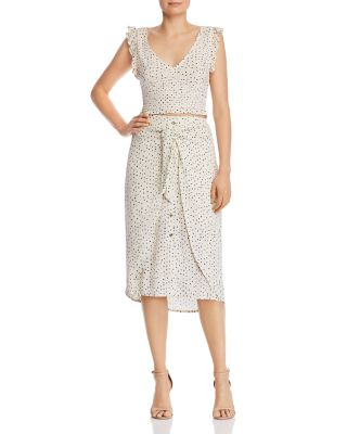 Tie-Front Polka Dot Midi Skirt - 100% Exclusive