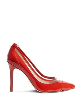 KAREN MILLEN - Women's Leather & Clear Stiletto Pumps