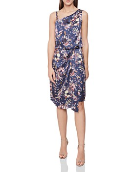 REISS - Ostia Asymmetric Floral Dress - 100% Exclusive
