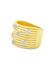 Freida Rothman - Fleur Bloom Empire Layered Wide Ring in 14K Gold-Plated & Rhodium-Plated Sterling Silver