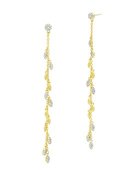 Freida Rothman - Fleur Bloom Empire Linear Drop Earrings in 14K Gold-Plated & Rhodium-Plated Sterling Silver