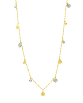 """Freida Rothman - Fleur Bloom Empire Dangling Station Necklace in 14K Gold-Plated & Rhodium-Plated Sterling Silver, 36"""""""