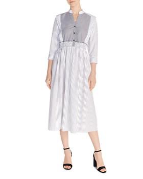Sandro - Alison Striped Cotton Midi Dress
