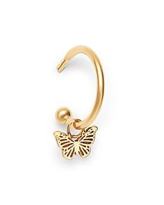 Zoë Chicco - 14K Yellow Gold Single Itty Bitty Butterfly Charm Huggie Hoop Earring