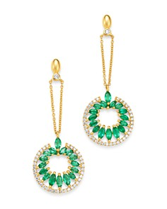 Madhuri Parson - 14K Yellow Gold Diamond Essentials Marquis Emerald Drop Earrings