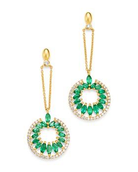Madhuri Parson - 14K Yellow Gold Diamond Essentials Marquis Emerald Drop Earrings