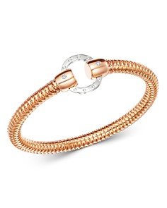 Roberto Coin - 18K Rose & White Gold Primavera Diamond Circle Stretch Bangle Bracelet