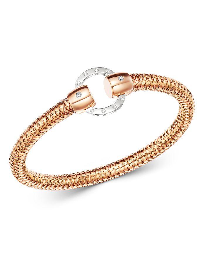 Roberto Coin - 18K Rose & White Gold Primavera Diamond Circle Stretch Bangle Bracelet